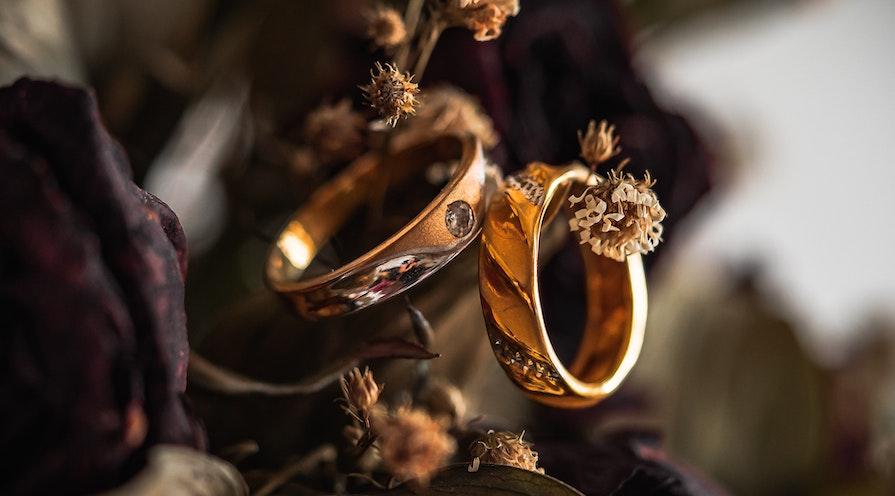 guldringar på grenar
